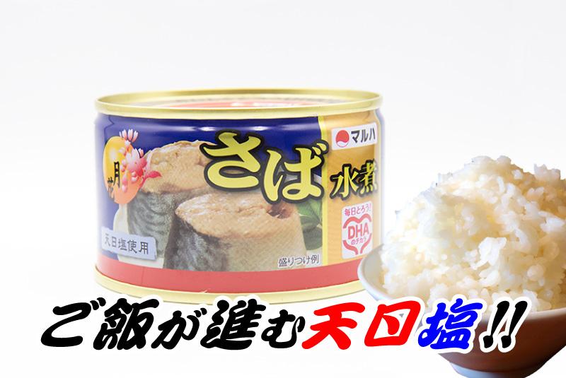 ご飯が進む天日塩 マルハニチロ さば水煮(天日塩使用)の鯖缶